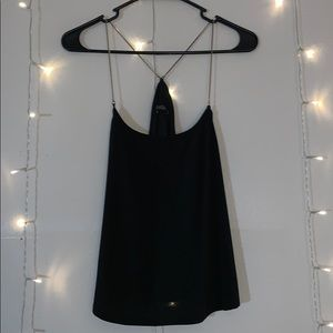 Black Angl Tank Top with Gold Straps